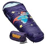 skandika Benjamin Blümchen - Saco de Dormir para niños Tipo Momia - 170 cm - Bolsa Transporte - Peso 900 gr (Stars (Azul))