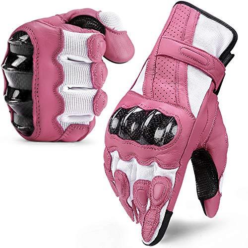 INBIKE Motorradhandschuhe Motorrad Handschuhe Downhill Motorradbekleidung Herren Damen Kinder Sommer Aus Ziegenfell und Mesh-Stoff Motorcross Pink L