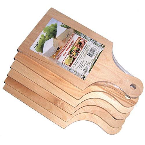 6er Set, Frühstücksbretter, Vesperbretter, Brotzeitbretter, Küchenbretter, Brotbretter, Frühstücksbrettchen mit Griff aus unbehandelten Naturholz, 30 x 14 x 1 cm