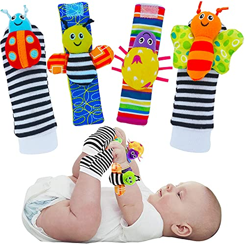 CarlCard 4PCS Cute Animal Soft Baby Socks Toys Wrist Rattles and Foot Finders for Baby Boy or Girl - New Baby Gift Infant Toys (A Style)