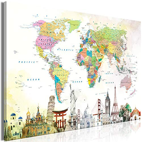 murando Cuadro en Lienzo Mapamundi 90x60 cm 1 Parte Impresión en Material Tejido no Tejido Impresión Artística Imagen Gráfica Decoracion de Pared Continentes Architektur Worldmap k-C-0117-b-a