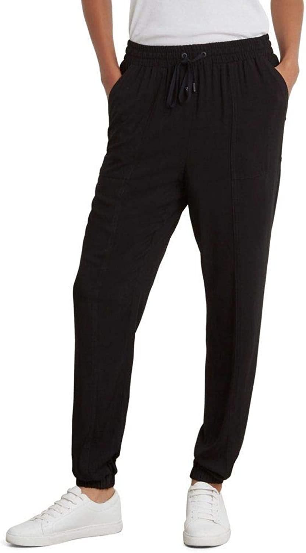 Kenneth Cole Womens SidePocket Drawstring Jogger Pants Black 4