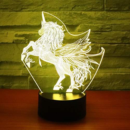 3D LED Nachtlicht für haben Flügel Einhorn mit 7 Farben Licht für Heimtextilien Pferd Pferd Lampe Geschenk Erstaunlich