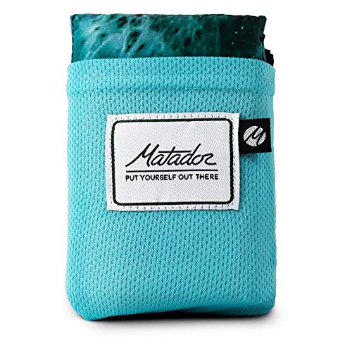 Matador Pocket Blanket 2.0 New Version, Picnic, Beach, Hiking, Camping. Water Resistant with Built-in Ground Stakes (Ocean Print)