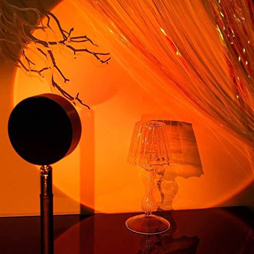 Lámpara de Proyección Sunset Puesta de sol Lampara Bedroom Sunset Projection Led Light Rainbow Sunset Projection Lamp USB Lámpara Puesta De Sol Arcoíris para Salón 90 ° Rotation Lámpara de Noche