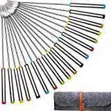 TecUnite Stainless Steel Fondue Forks with Heat Resistant Handle for Cheese Chocolate Fondue Roast Marshmallows Meat, 9.5 Inch (18 pack)