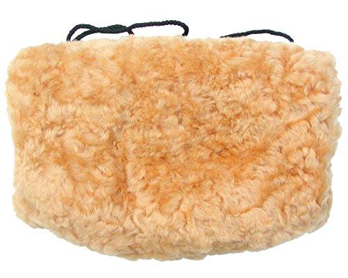 Warmer Lammfell Pelzmuff goldbeige ca. 28x20 cm, waschbar, mit Reißverschlusstasche