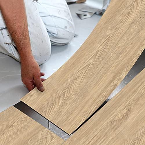 AUTUUCKEE Papel pintado adhesivo grueso autoadhesivo de vinilo azulejos impermeables para decoración del hogar, grano de madera 30,5 x 19,8 cm