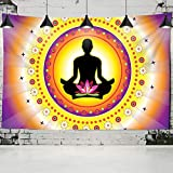 Estatua de Buda indio tapiz colgante de pared mandala psicodélico hombre mujer...