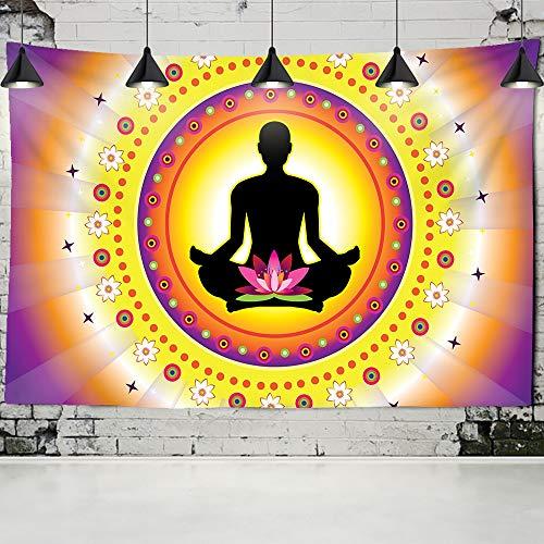 Estatua de Buda indio tapiz colgante de pared mandala psicodélico hombres mujeres meditación boho tela de fondo a2 73x95 cm