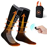 kemimoto Electric Heated Socks(Large) for Women Men, 2600mAh Remote Control Rechargeable Battery Socks, Washable Heating Socks for Hunting Ice Fishing, Camping, Skiing