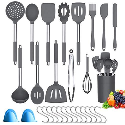 BMK Silikon Küchenhelfer Set, 29er Küchenhelfer Küchenutensilien Set Antihaft Hitzebeständiger Küchengerät Home Kitchen Cooking Tools, Küchenutensilien mit Edelstahlgriff,13 S-Haken (Grau)