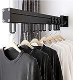 BHeadCat Tendedero multiusos para ropa giratorio, resistente, barra de hierro montado en la pared, barra de colgar para almacenamiento de armario, lavadero, 21 ganchos, 22.5 pulgadas de longitud
