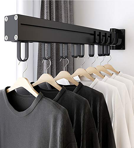 BHeadCat Laundry Drying Rack MultiPurpose Clothes Rack Rotatable Heavy Duty Wall Mounted Iron Garment Rack Bar Hanging Rod for Closet Storage Laundry Room 21 Hooks 225#039#039 in Length