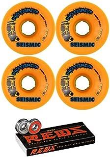 Seismic Skate Systems 76mm Hot Spot Mango Defcon Skateboard Wheels - 78.5a with Bones Bearings - 8mm Bones Reds Precision Skate Rated Skateboard Bearings (8) Pack - Bundle of 2 Items
