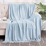 Bed Throw Blanket with Tassels, Lightweight Decorative Throw Blanket for Couch Bed Sofa, Textured Cozy Travel Throw for All Seasons, 100% Acrylic 50X60 Inch