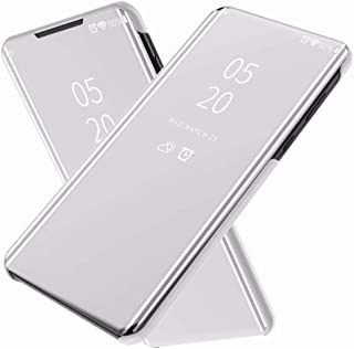 FanTing Case for LG Q92 5G,Mirrored flip smart translucent case with automatic switch for LG Q92 5G-Silver