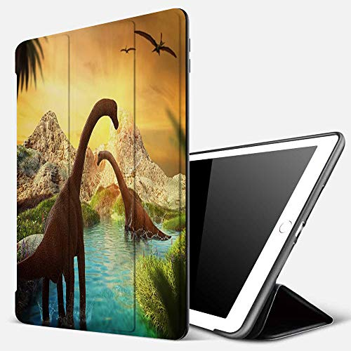 iPad 9.7 inch 2017/2018 Case/iPad Air/Air 2 Cover,3D Fantasy Landscape with Dinosaur Mountains,PU Leather Shockproof Shell Stand Smart Cover with Auto Wake