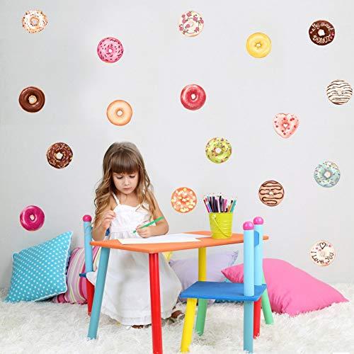 Bunte Donut Kuchen Wandaufkleber Kinder Schlafzimmer DIY Aufkleber Küchenschrank Wohnzimmer Schrank Kühlschrank Kunst Wandbild Home Decor