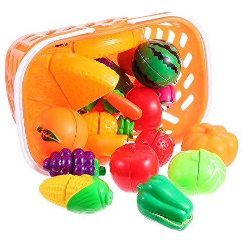Toddmomy 1 Juego de Juguetes de Cocina Divertido Cortar Frutas Verduras Simulación Plástico Frutas Y Verduras Juguete Educativo para Niños Juego de Juegos de Comida con Cesta de
