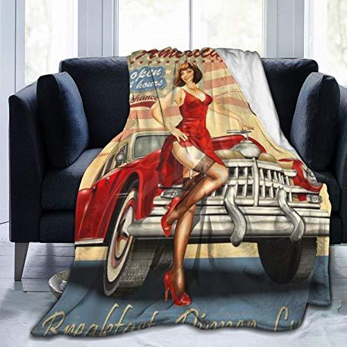 ZOMOY Flanell Fleece Soft Throw Decke,Diner Route 66 Vintage Poster Chicago Mafia Autostadt Gangster 1920er 1930er Jahre,für Sofas Sofa Stühle Couch Leicht,warm und gemütlich 127x102cm