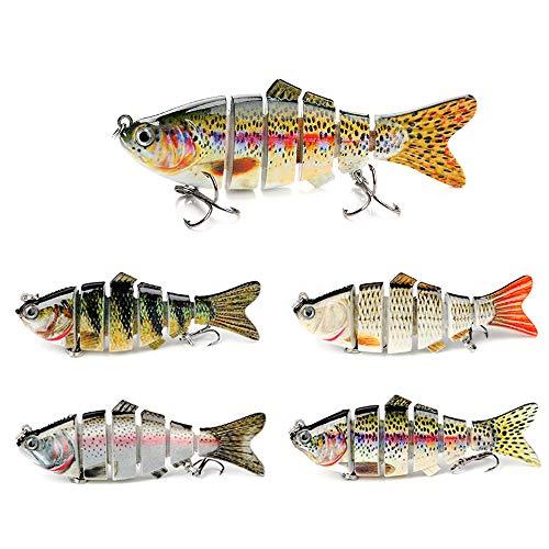 Novsix Señuelos de pesca realista biónico cebo para trucha de bajo realista, de agua dulce y salada, con ganchos afilados de acero al carbono