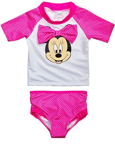 Disney Baby Girls 2-Piece Infant Minnie Mouse Rash Guard and Bikini Swimsuit Set, Size 12 Months, Dark Pink Minnie Print