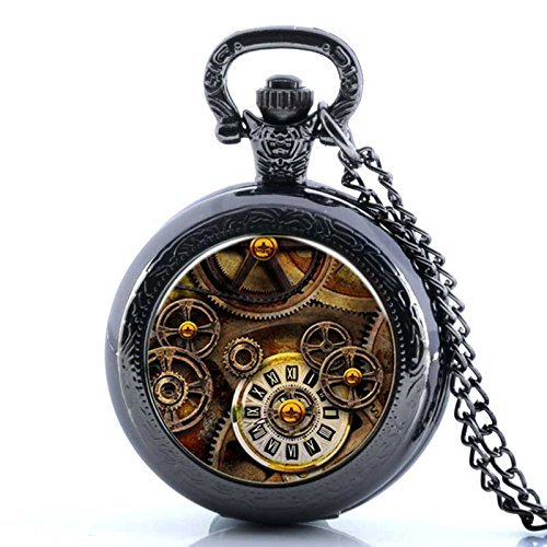 Reloj vintage con esqueleto de bolsillo, chapado en negro, collar con