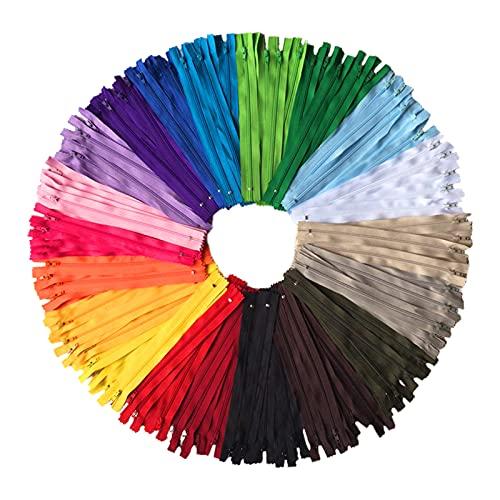 Lot de 100 fermetures éclair Aiyufei - En nylon - 20 cm de long et 2,5 cm de large - Pour vêtements, sac, trousse