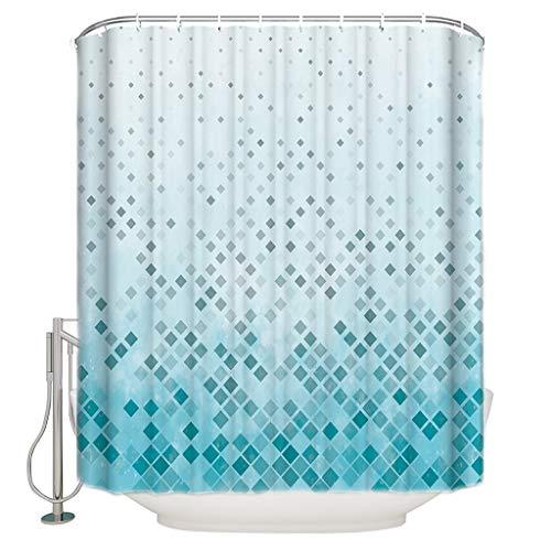 n Geometrische Cyan Rechteck Gradient Mosaik Duschvorhang wasserdicht & schimmeldicht Polyester Stoff Bad Vorhang Design