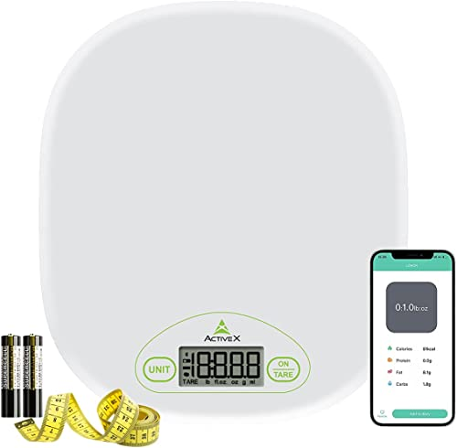 ActiveX EatSmart Multipurpose Digital Kitchen Food and Baking Scale for Home with 1g 0 04oz Precision 4 Units Easy Tare Function with Smart Nutrition App and Free Measuring Tape Batteries Included