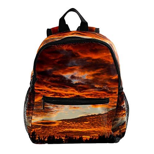 Backpack for Boys and Girls,Kid's Schoolbag for Kindergarten Preschool Toddler Baby Nursery Travel Bag Sunset in The Forest