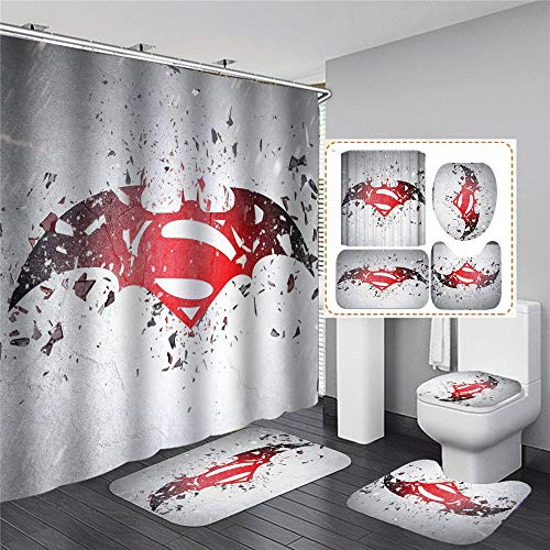 xingy&eshoop Kreatives Batman-Logo Duschvorhang Wasserdichtes, Abwaschbares Bad Aus Polyestergewebe Badmatte - Vierteiliger Anzug 120 (B) X180 (H) cm