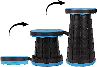"""IRIS Camping Stool Retractable Folding Plastic Step Stool for Indoor, Outdoor, Camping, Walking, Hunting, Hiking, Fishing, Travel, Gardening, Beach, 2.5"""" to 18"""" Adjustable Height (Blue)"""