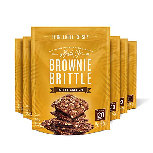 Sheila G's Brownie Brittle Toffee Crunch Sweet Crispy Snack-Low Calorie, Sweets & Treats Dessert, Healthy Chocolate, Thin Sweet Crispy Snack-Rich Brownie Taste with a Cookie Crunch- 5oz. Bag, 6 Pk