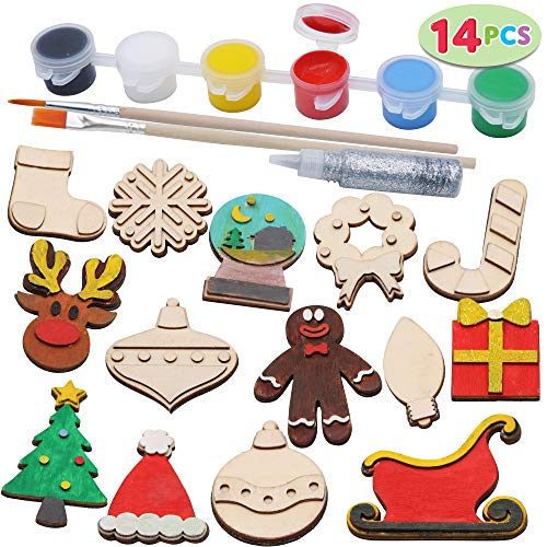 14 Christmas Wooden Magnet Creativity Arts & Crafts Painting Kit Decorate Your Own for Kids Paint Gift, Birthday Parties and Family Crafts, Holiday Stuffers