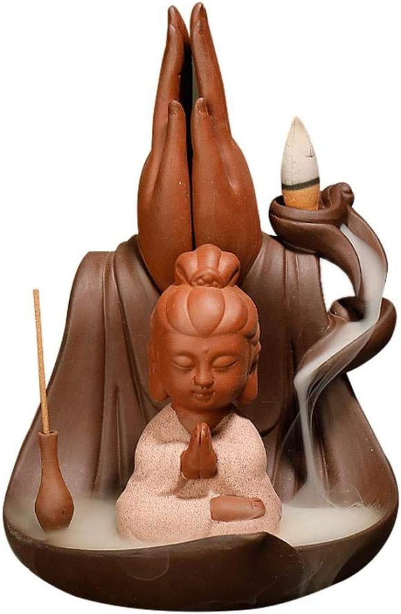 Monk Backflow Incense Burner, Lotus Ceramic Waterfall Incense Holders, Come with 10 Free Incense Cones, for Home Office Yoga Aromatcherapy Ornamen (E(4.92''4.52''7.08''))