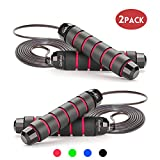 Jump Rope Workout Tangle-Free with Memory Foam Handles Adjustable Skipping Rope Ideal for Training,...