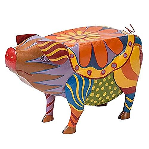 Bunte Tier-Statuen, Graffiti, bemalt, Tier-Ornamente, Tablett, Beistelltische, bunt, niedliche Hunde-Figuren, Folk-Kunst, Tierskulpturen, Hund, Kuh, Hahn, Schwein, Skulptur, Tische für Haus und Garten