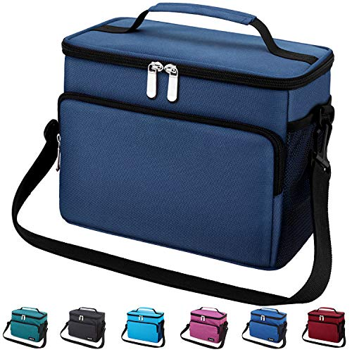 Leakproof Reusable Insulated Cooler Lunch Bag - Office Work School Picnic Hiking Beach Lunch Box Organizer with Adjustable Shoulder Strap for Women,Men and Kids-Navy