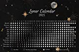 Moon Calendar 2021 - Lunar Phases and Eclipses - Black Horisontal Poster - 18 x 12 inch