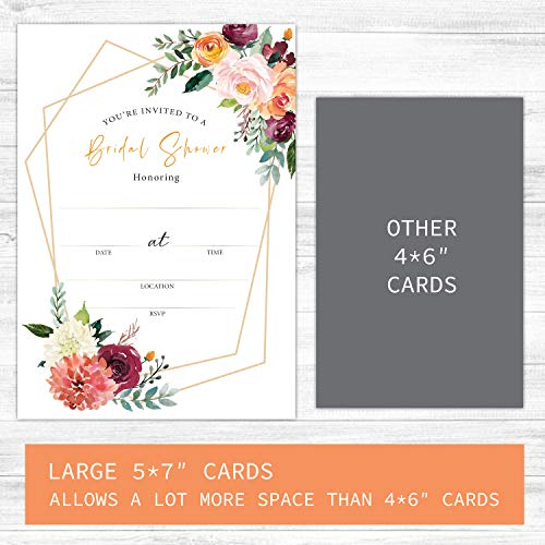 Floral Bridal Shower Invitations, 20 Cards with Matching Envelopes and Stickers