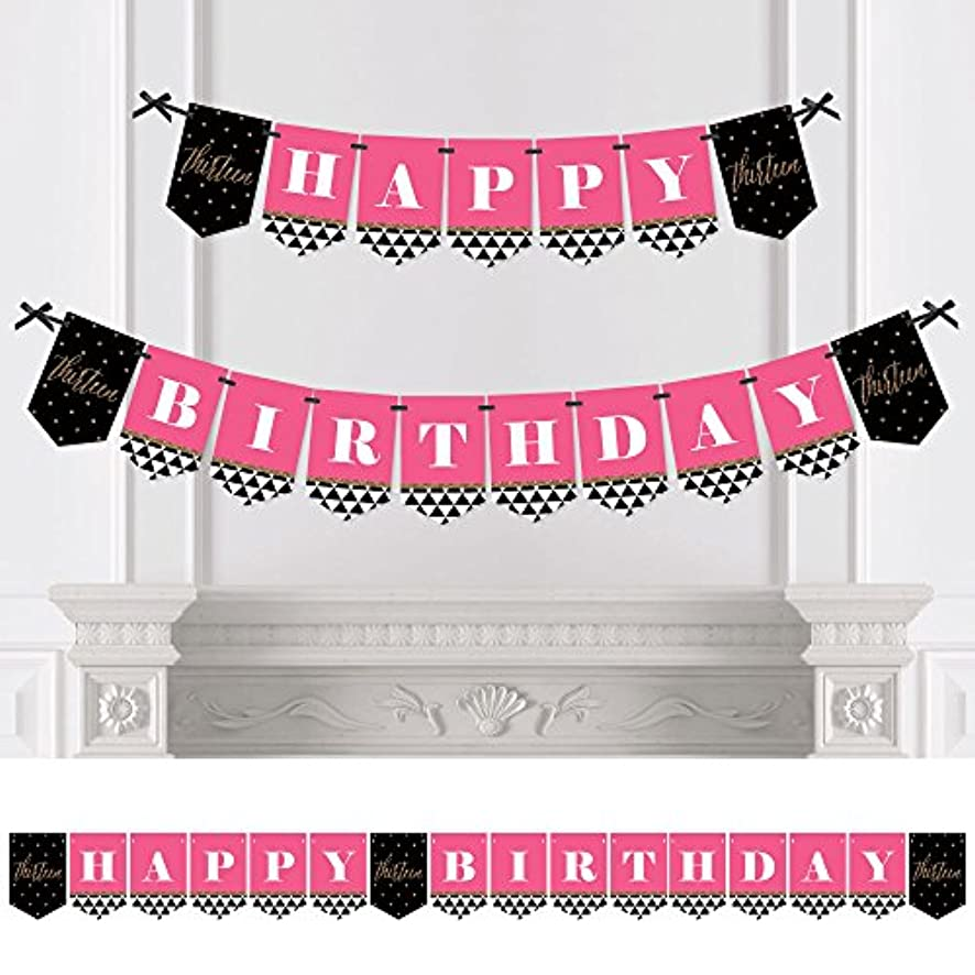 Big Dot of Happiness Chic 13th Birthday - Pink, Black and Gold - Birthday Party Bunting Banner - 13th Party Decorations - Happy Birthday
