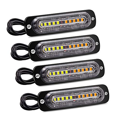 YnGia 4PCS 4D Luces intermitentes de emergencia, 10 LED Barra de luz estroboscópica intermitente de peligro Luz de advertencia lateral Luz de baliza ámbar y blanco Universal 12V 24V