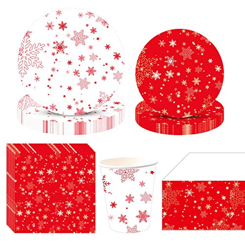 Christmas Disposable Tableware, Partybloom Christmas Party Supplies with Snowflake Plates Cups Napkins Tablecloth Serves 20 for Christmas Snowflakes Themed Party Decoration