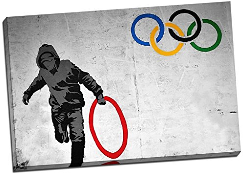 Banksy Olympic Rings Canvas Print Picture Wall Art Large 30x20 Inches