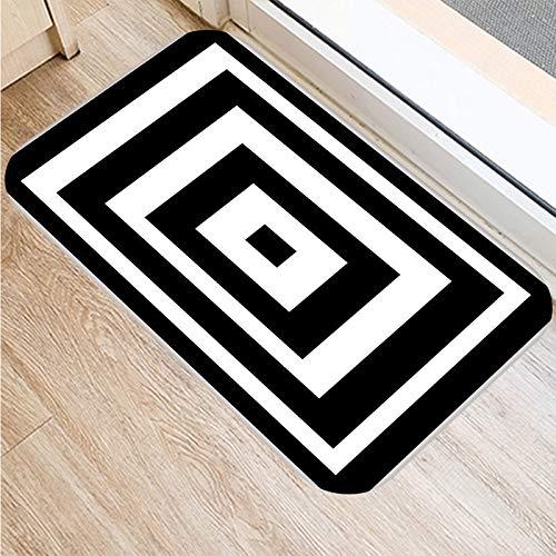 2DD-48231-008 - Felpudo (400 x 600 mm), diseño geométrico, color negro y blanco