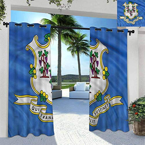 ScottDecor American Patio Waterproof with Curtain Gazebo Garden Furniture House Connecticut Flag Baroque 96' W by 72' L