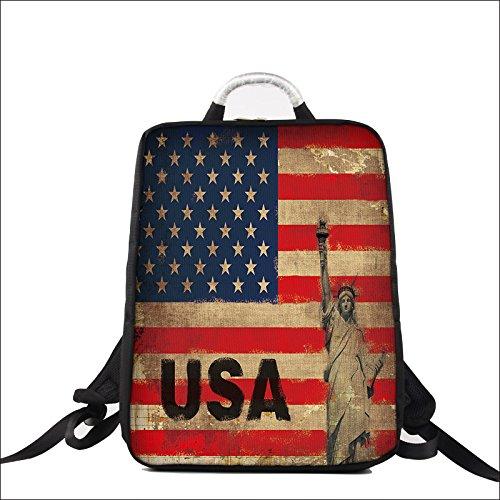Luxburg Design Zaino per Notebook Multifunzionale per Scuola, Lavoro e Tempo Libero, per Laptop Fino a 17 Pollici, Motivo: USA Flag
