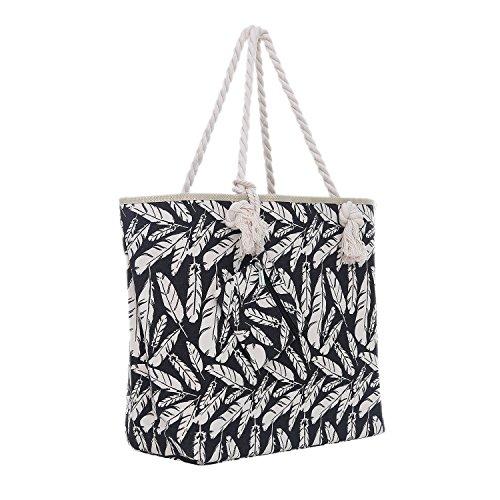 Große Strandtasche mit Reißverschluss 58 x 38 x 18 cm Federn schwarz beige Shopper...